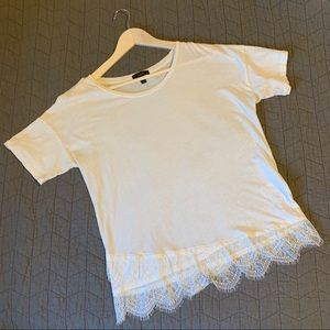 J. Crew White Lace Hem T-Shirt SEE DESCRIPTION